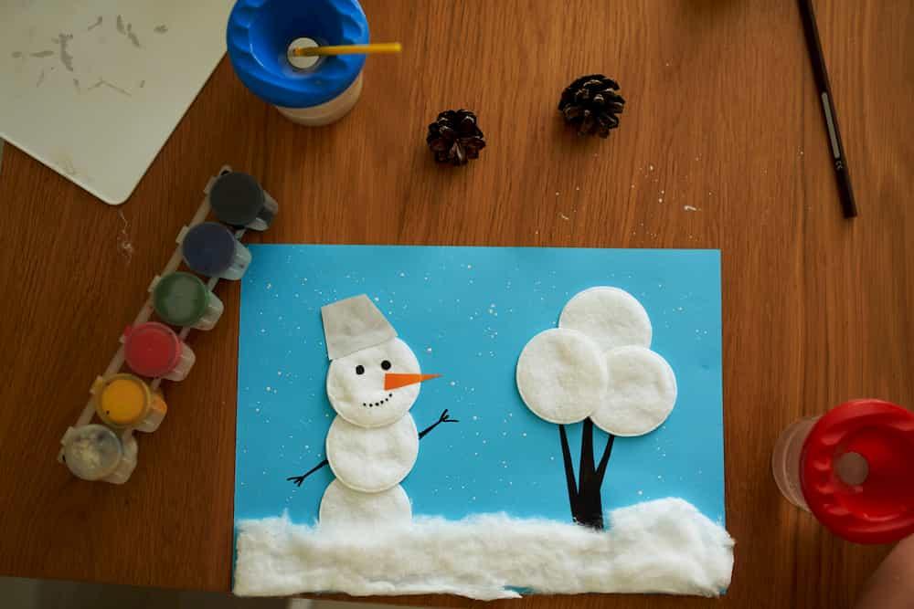 Déco de Noël récup bonhomme de neige en coton